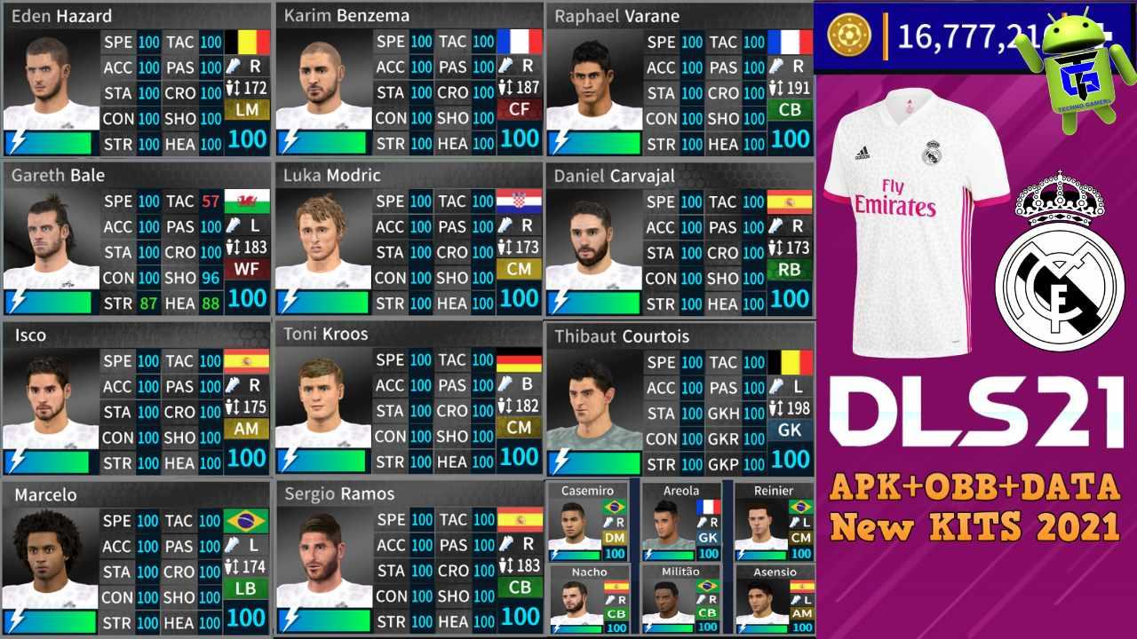 DLS 21 APK Mod Real Madrid Kits 2021 Download